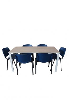 Tavolo riunione + kit 6 sedute attesa in polipropilene