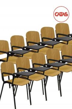 Kit 10 sedute attesa in faggio con un bracciolo e tavoletta