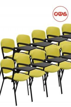Kit 10 sedute attesa in polipropilene con un bracciolo e tavoletta
