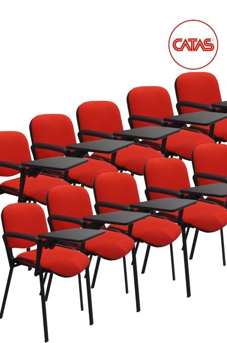 Kit 10 sedute attesa imbottite con un bracciolo e tavoletta
