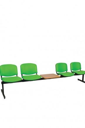 Panca a quattro posti attesa imbottita con tavolino